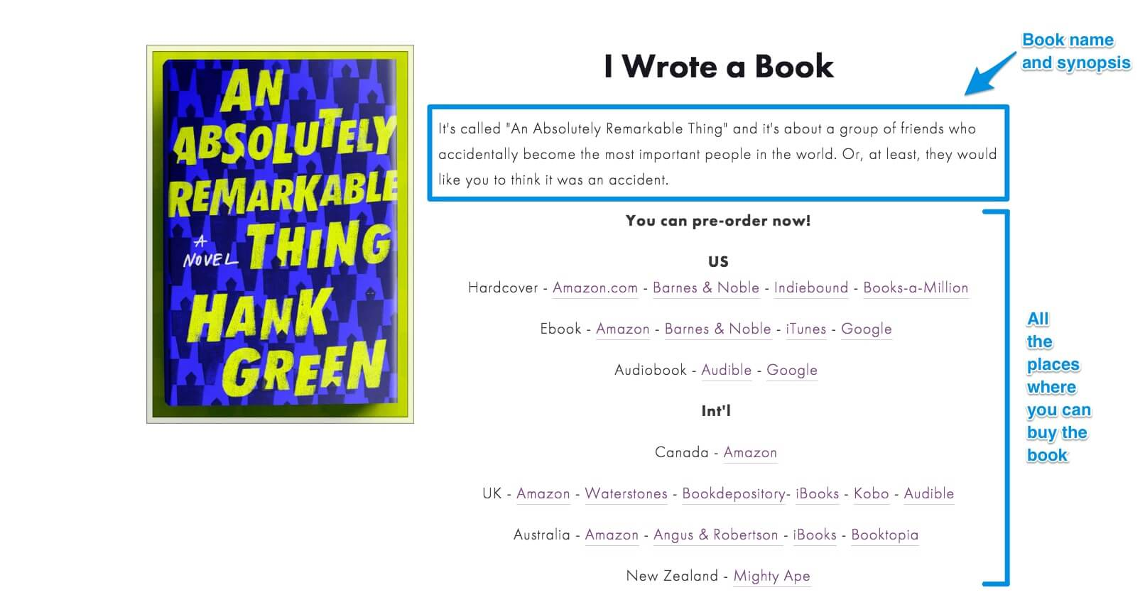 Hank Green Book Website Example 1