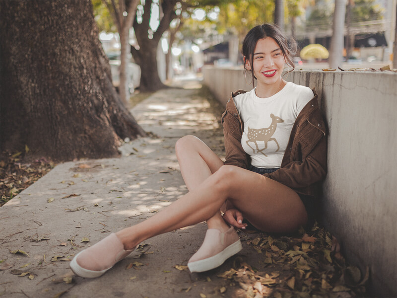Smiling Asian Woman Wearing A Crop Top Tee Mockup At A Park