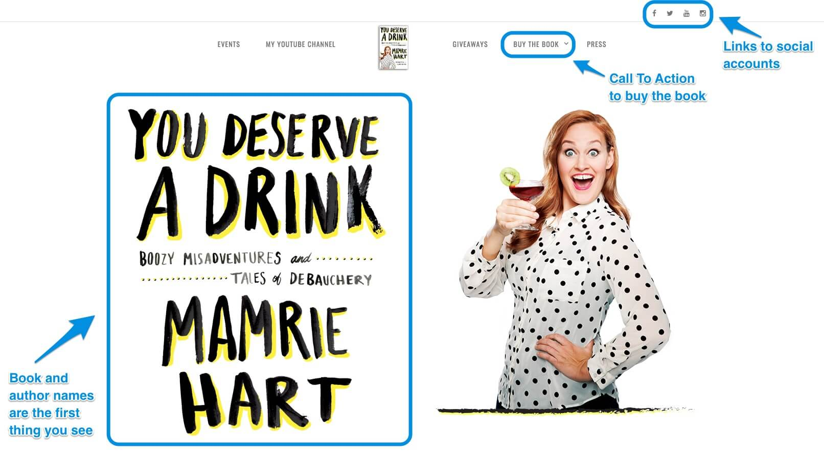 You Deserve A Drink Author Page Example