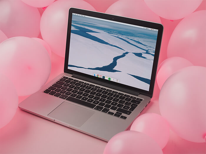 Macbook 2011 Mockup Pink Background Copy