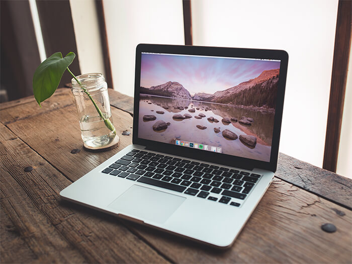 Macbook Mockup Wooden Desk Copy