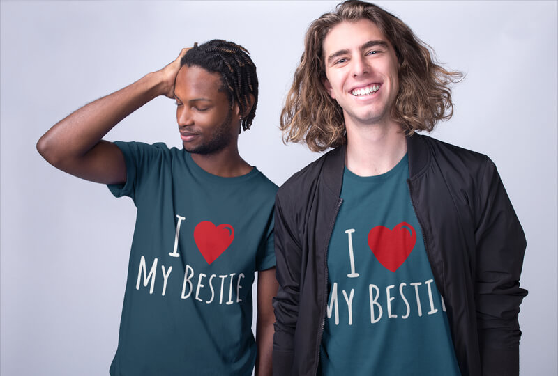Interracial Shirts Mockup Of Two Friends Posing At A Photo Studio