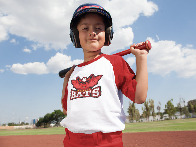 Mockup of Happy Kid Posing with Youth Baseball Uniform