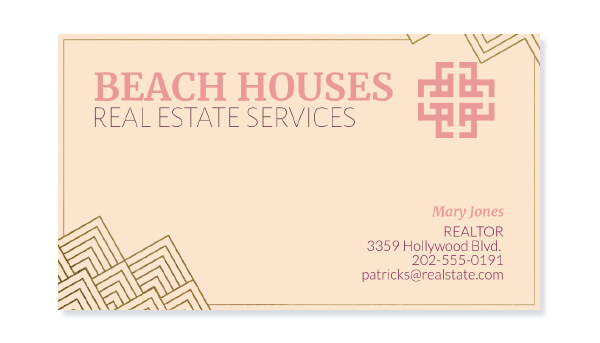 Real Estate Business Card With Golden Outline