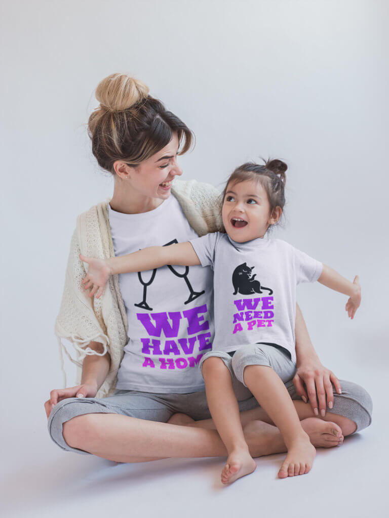 Girl and Mom Wearing T-Shirts Mockups or Real Estate Realtor Welcome