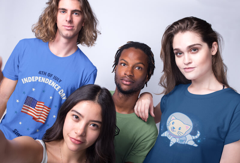 Selfie Of Friends Wearing Interracial T Shirts Mockup Against A White Background