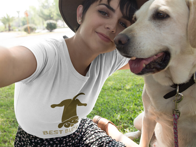 Selfie Of A Pretty Girl Wearing A T Shirt Mockup With Her Dog