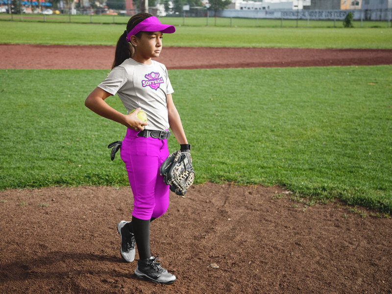 Mockup of a Girl at a Softball Field