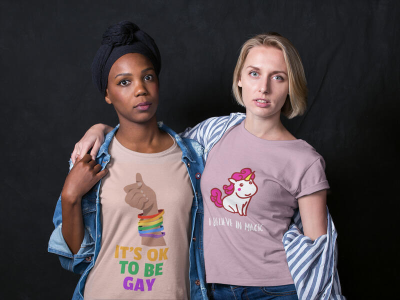 Two Girlfriends Wearing Interracial Shirts Mockup