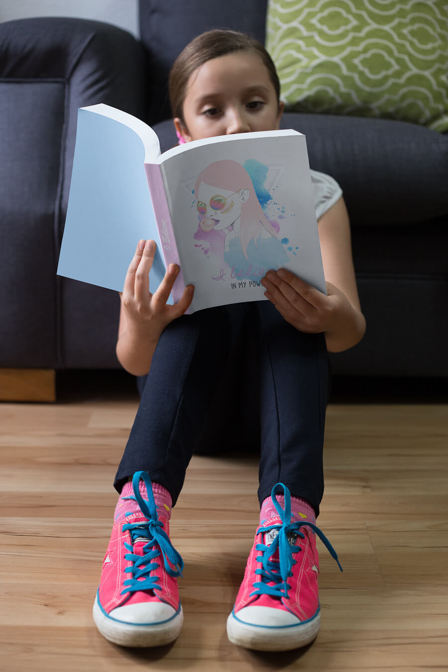 Girl Reading A Book Mockup