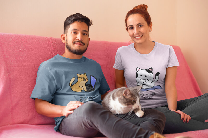 Happy Couple Wearing T Shirts Mockup With Their Cat