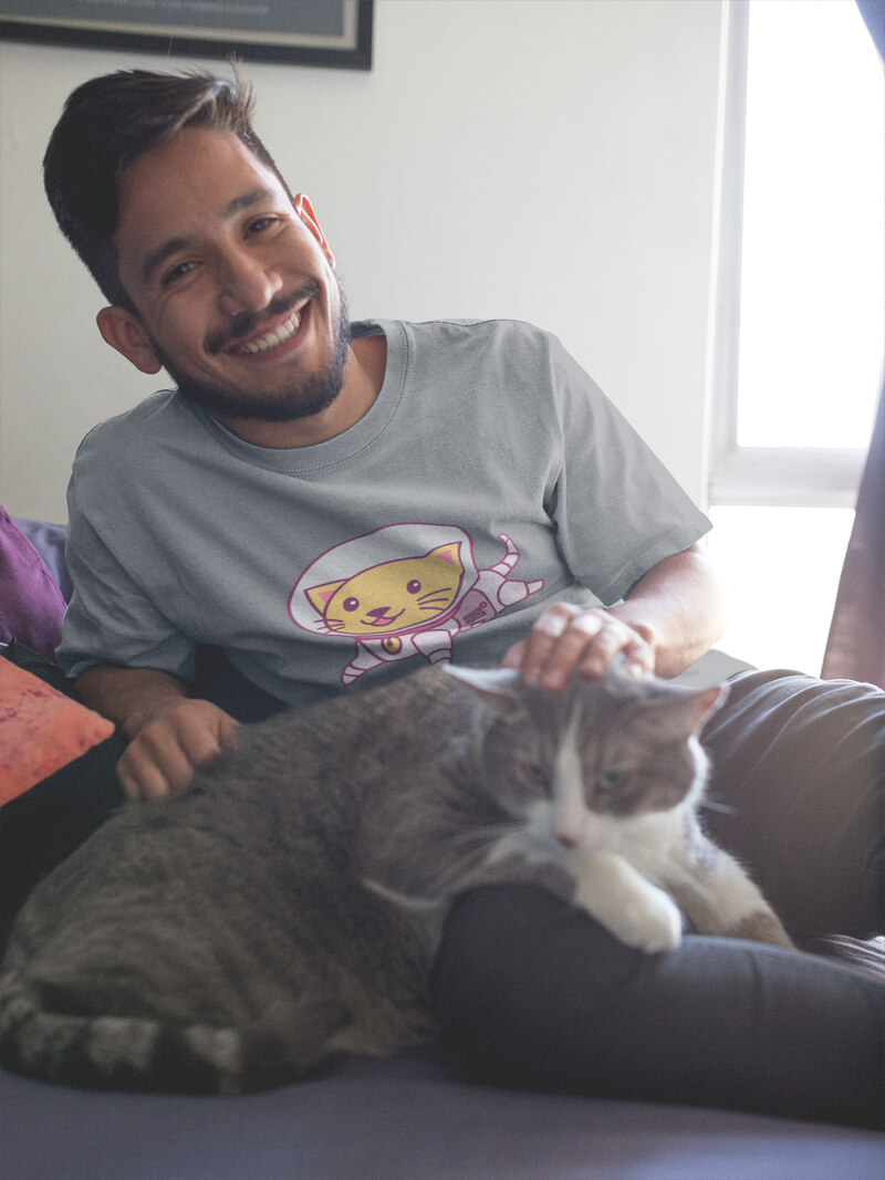Smiling Hispanic Man Wearing A T Shirt Mockup With His Cat