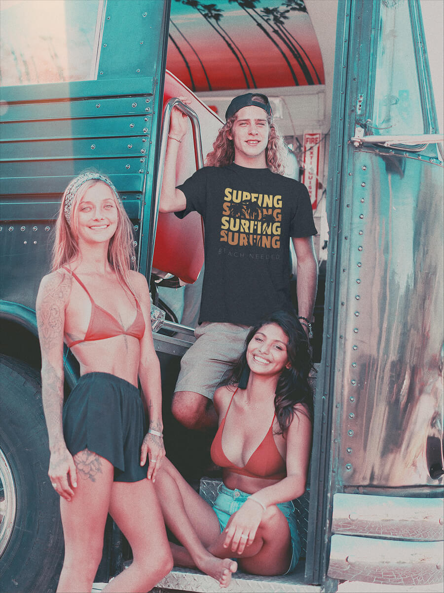 Vintage Shot Of A Surfer Dude Wearing A T Shirt Mockup With Two Friends