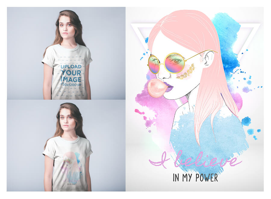 Woman Wearing A T Shirt Mockup And T Shirt Template Design