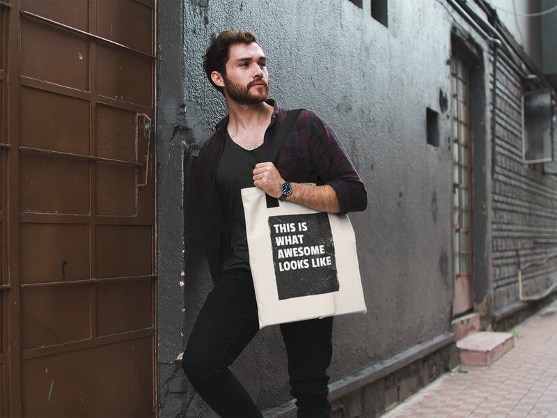 Man With Tote Bag Negative Space