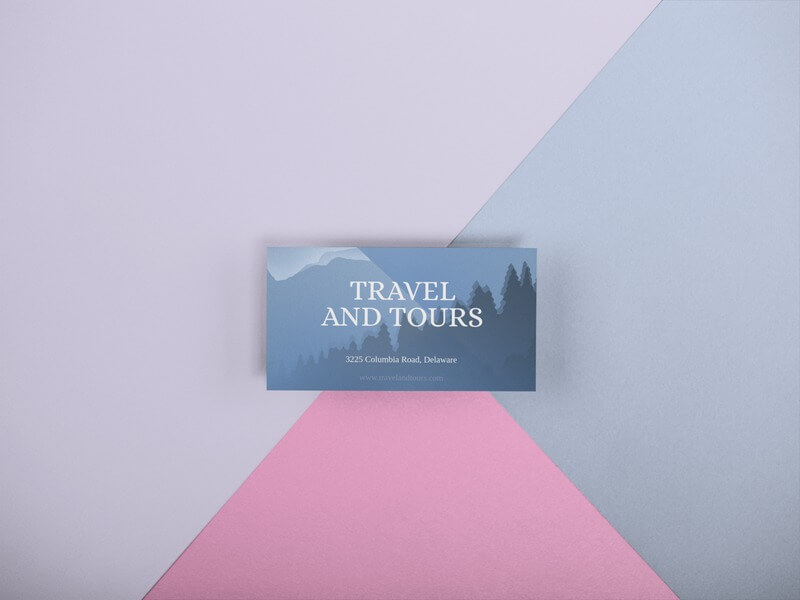 Business Card Template Lying On A Surface With Three Colors