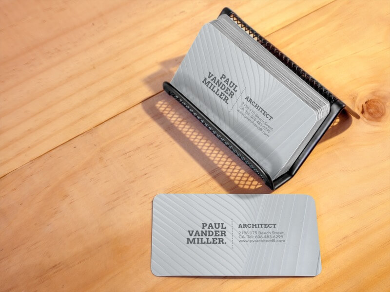 Business Cards On A Metal Business Cardholder Mockup