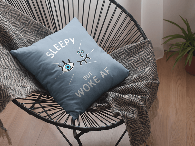 Pillow Mockup Featuring a Feminist Design