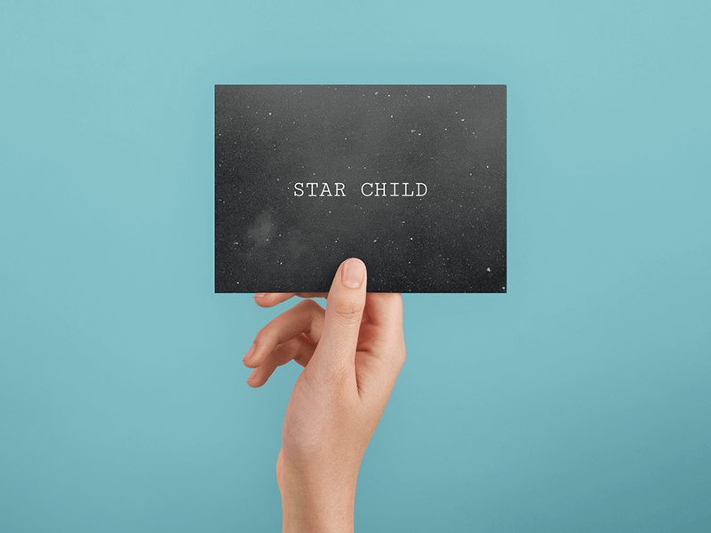 Postcard Mockup with a Galaxy Design