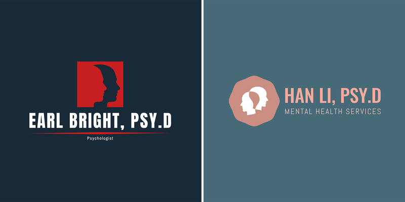 Psychologist Logo Maker With Head Graphics