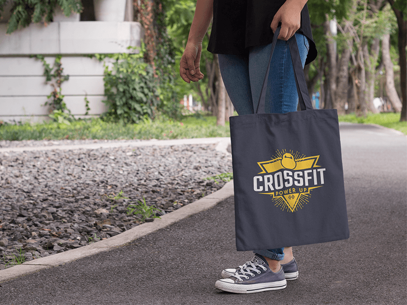 Tote Bag Mockup For A Crossfit Gym