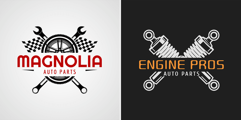 Auto Parts Store Logo Maker With Split Graphic