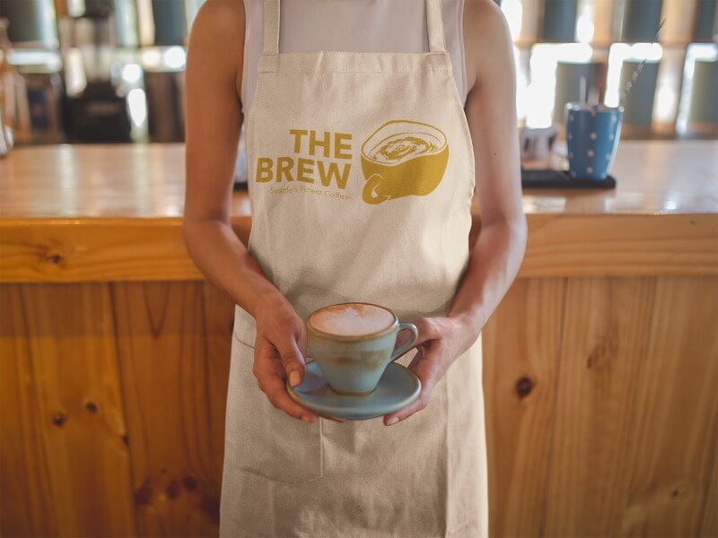 Coffee Shop Logo On An Apron Mockup