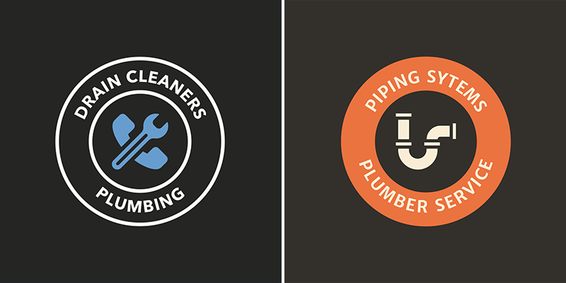 Logo Design Template With Plumbing Graphics