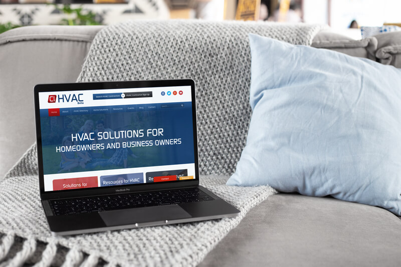 Macbook Mockup Featuring An Hvac Website