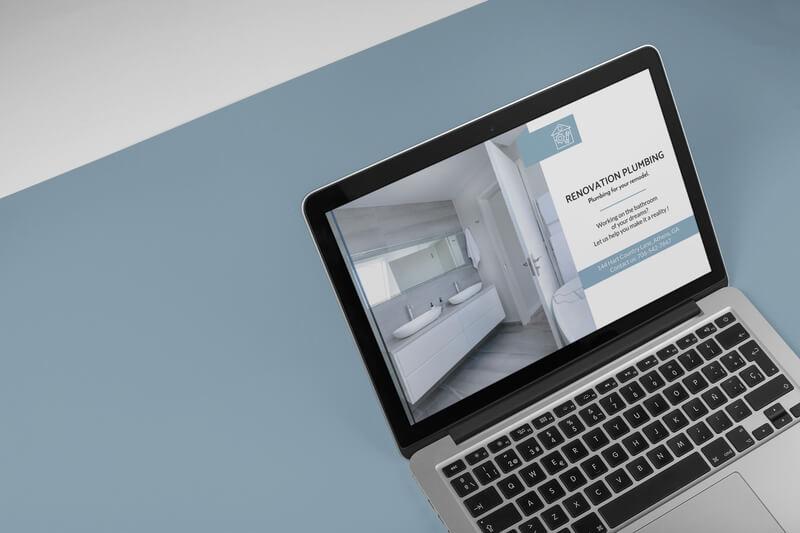 Macbook Mockup Featuring A Plumbing Website