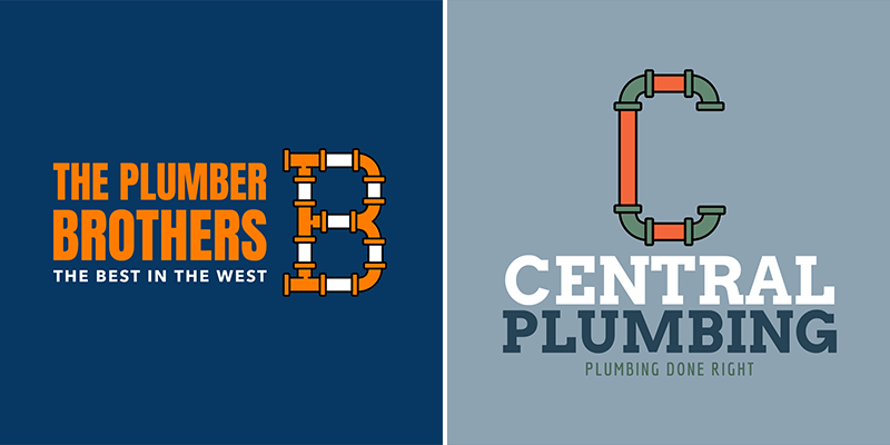 Plumbing Logo Maker With Pipe Monogram