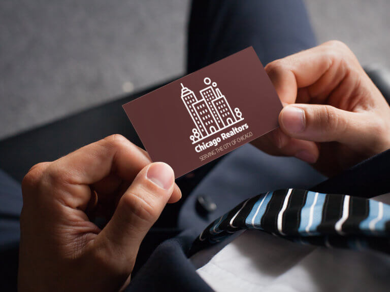 Real Estate Logo Design On A Business Card Mockup