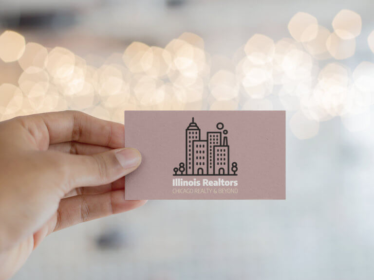 Real Estate Logo On A Business Card Mockup