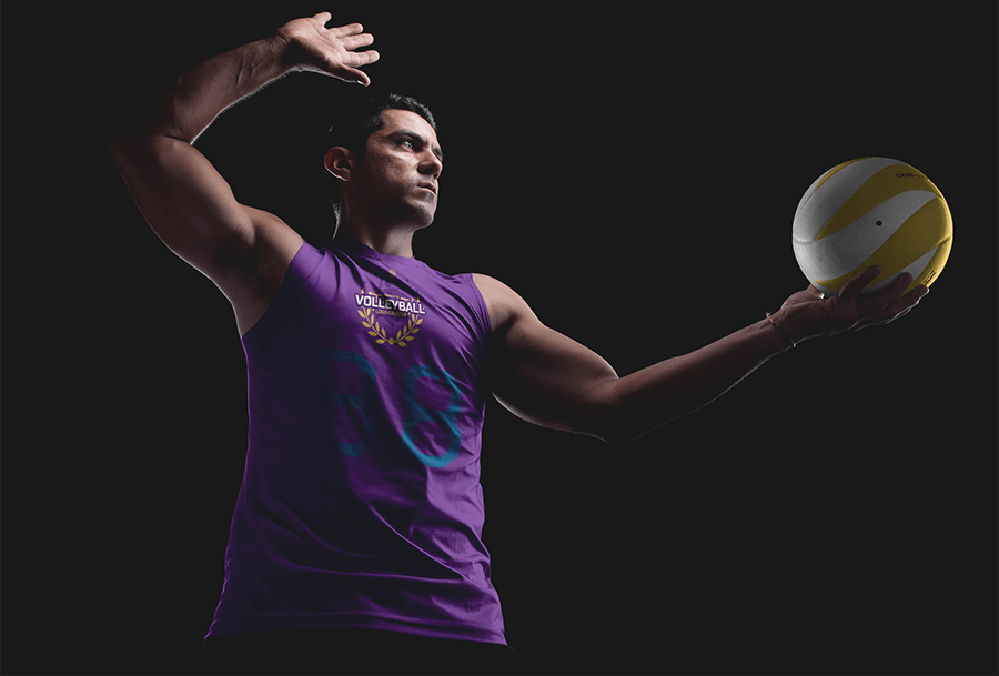 Volleyball Jersey Mockup Featuring a Strong Man Serving