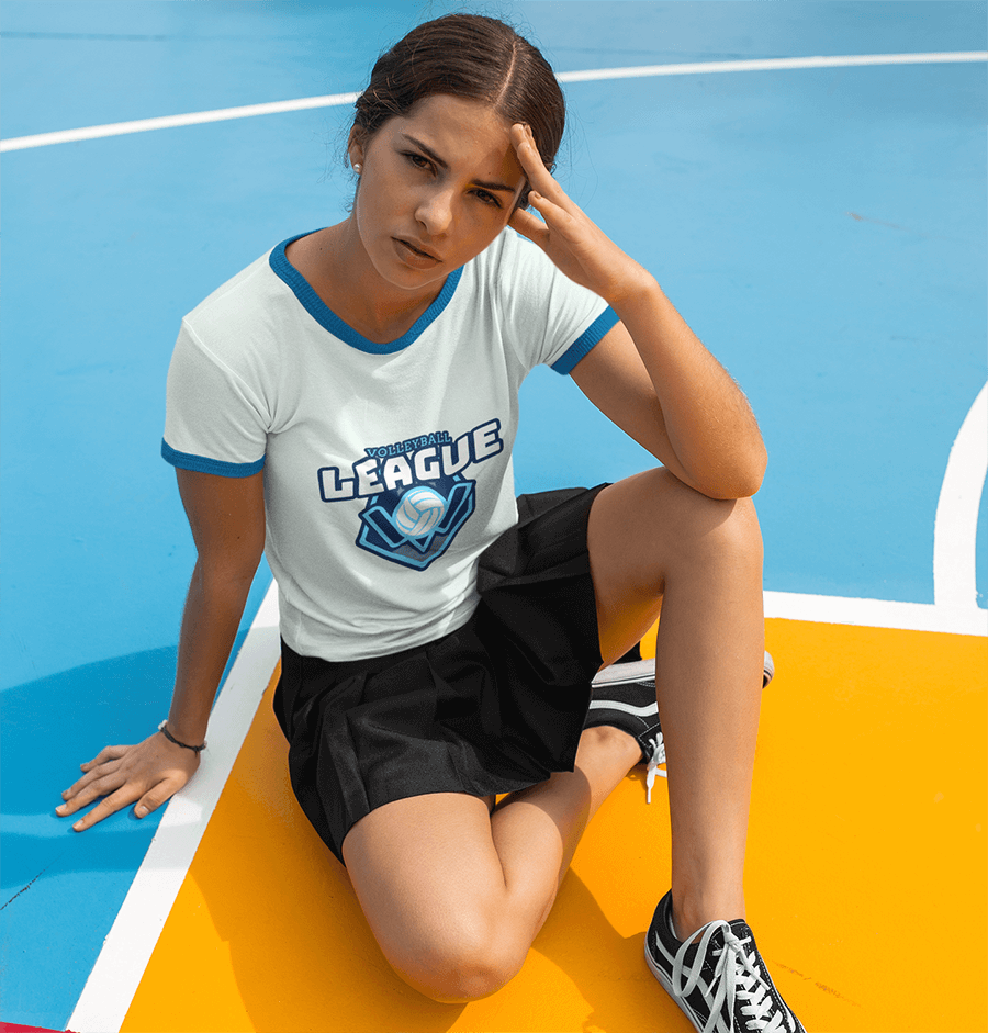 T-Shirt Mockup of a Girl Sitting on a Volleyball Court