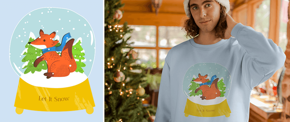 Christmas T Shirt Design Template On A Sweater Mockup