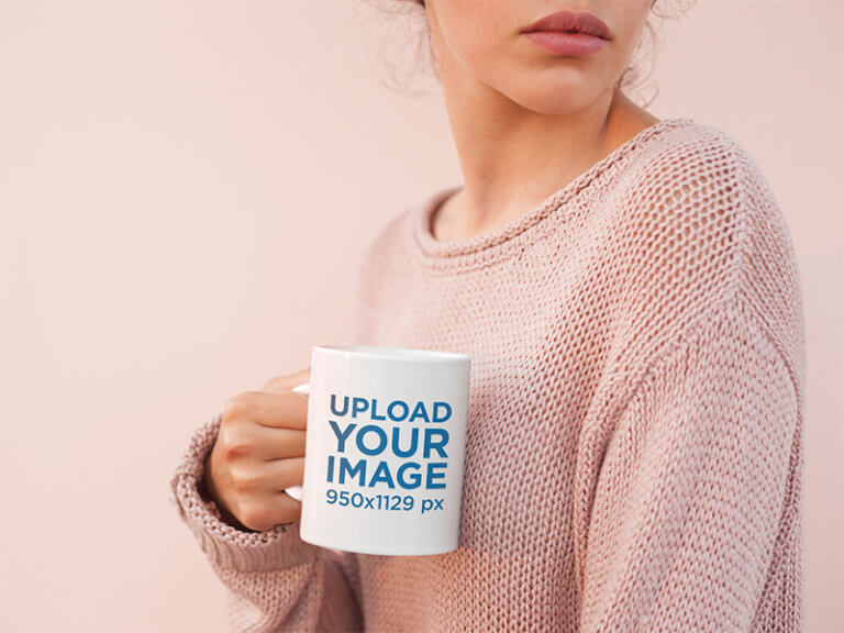 Coffee Mug Mockup Surrounded By Light Pink Tones2