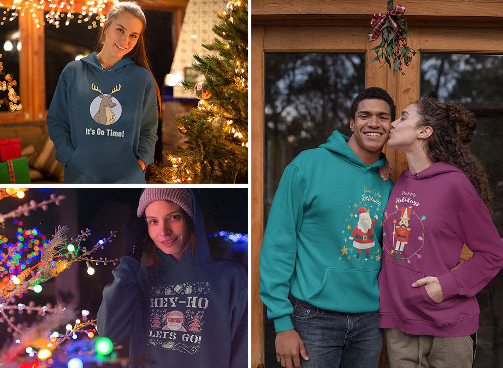 Customize A Hoodie Mockup With Christmas Designs