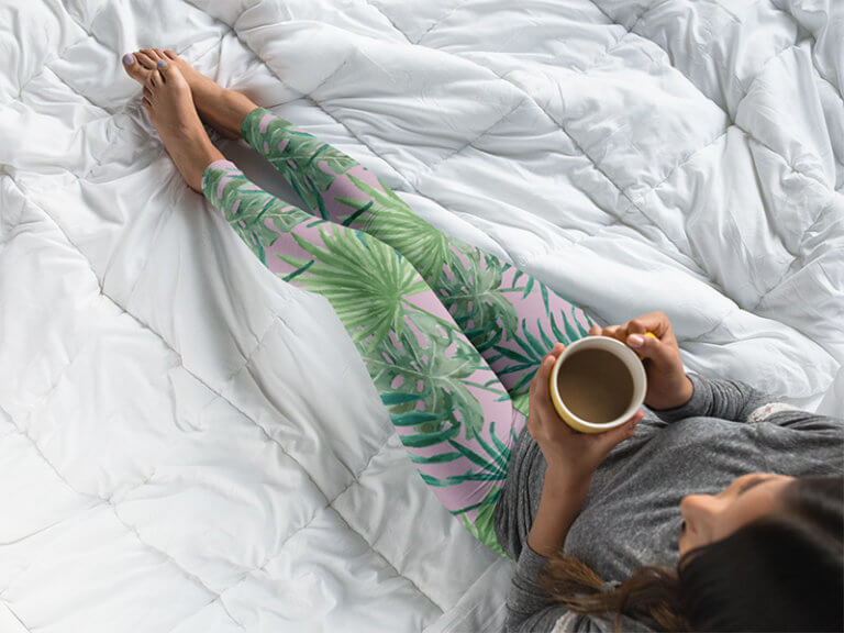 Leggins Mockup With Plant Print