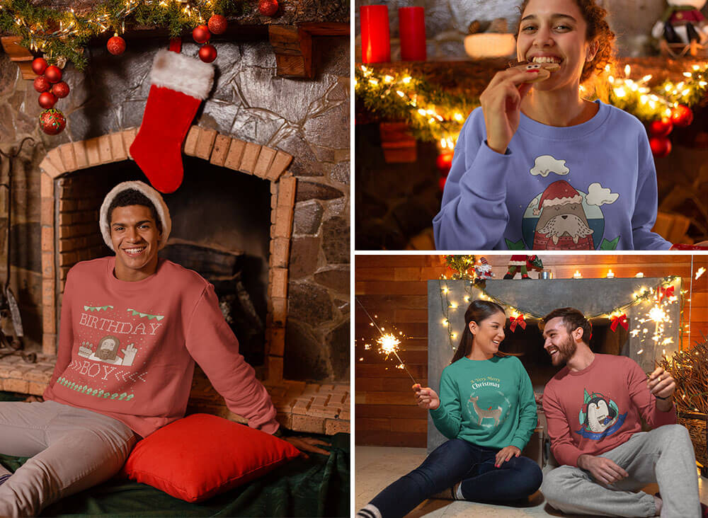 Sweater Mockups Featuring Christmas Designs
