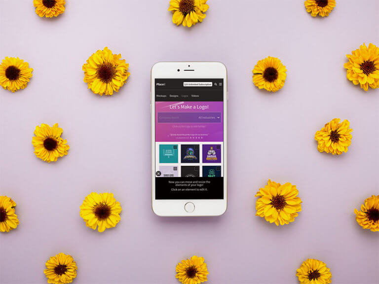 Iphone Mockup With Flower Background