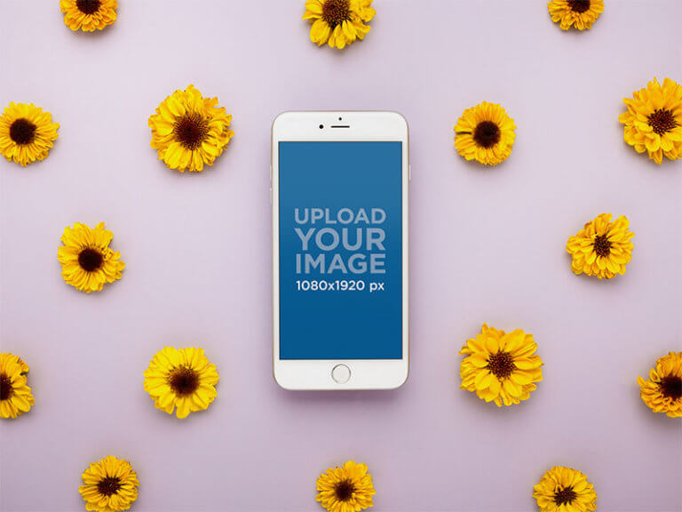 Iphone Mockup With Flower Background2
