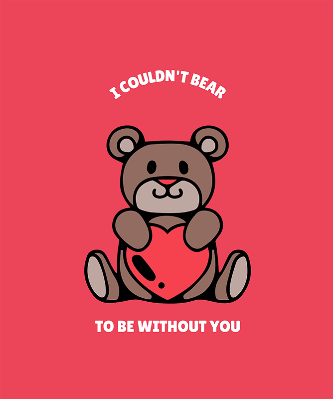 Valentines Day T Shirt Design Template With Funny And Cute Illustration
