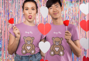 Valentines Day T Shirt Mockup Featuring A Couple Eating Candy