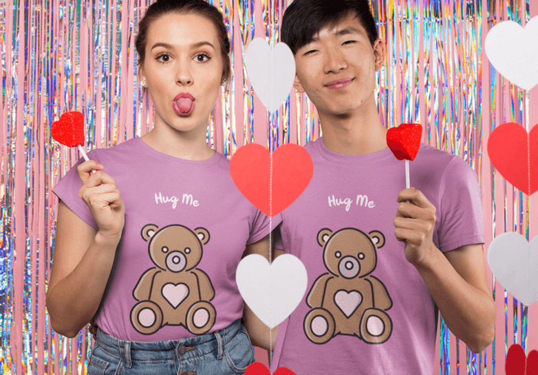 Valentines Day T Shirt Mockup Featuring A Couple Eating Heart Candy