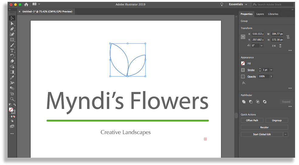 Vector Logo Illustrator myndis flowers
