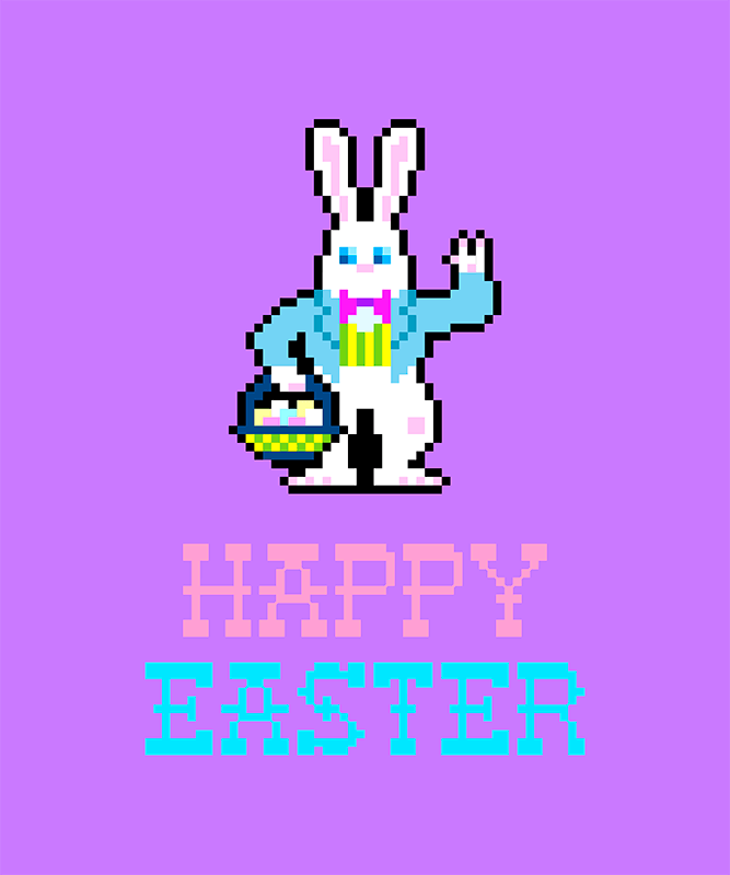 Easter T Shirt Design Template With Pixel Art Easter Bunny 1211f Copia