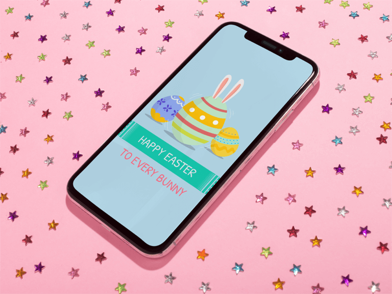 Jet Black Iphone X Mockup Lying On A Pink Surface With Bright Stars Stickers A19122 (2)