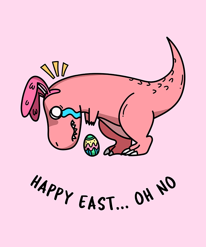 T Shirt Design Template With A Funny Easter Dinosaur Clipart 201f