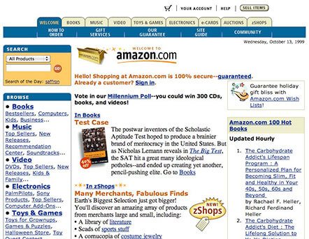 Amazon Landing Page from the Year 2000